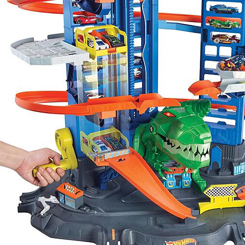 """Автотрек Hot Wheels City """"Невообразимый гараж с тираннозавром"""" от Mattel"""