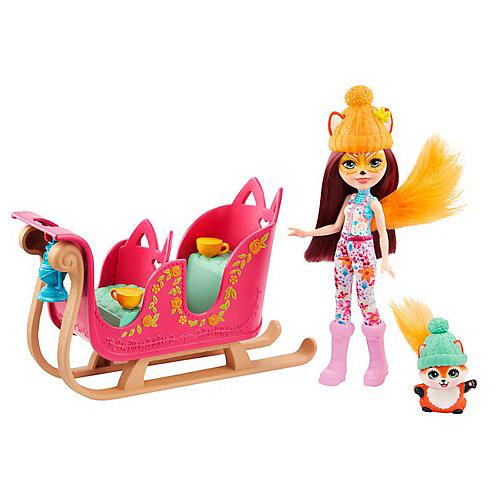 """Игровой набор Enchantimals """"Рождественские сани"""" Фелисити Фокс и Флик от Mattel"""