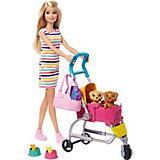 Игровой набор Barbie Кукла с щенками в коляске
