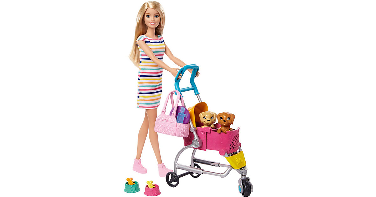 Barbie Hunde-Buggy Spielset mit Puppe (blond), Anziehpuppe, Modepuppe
