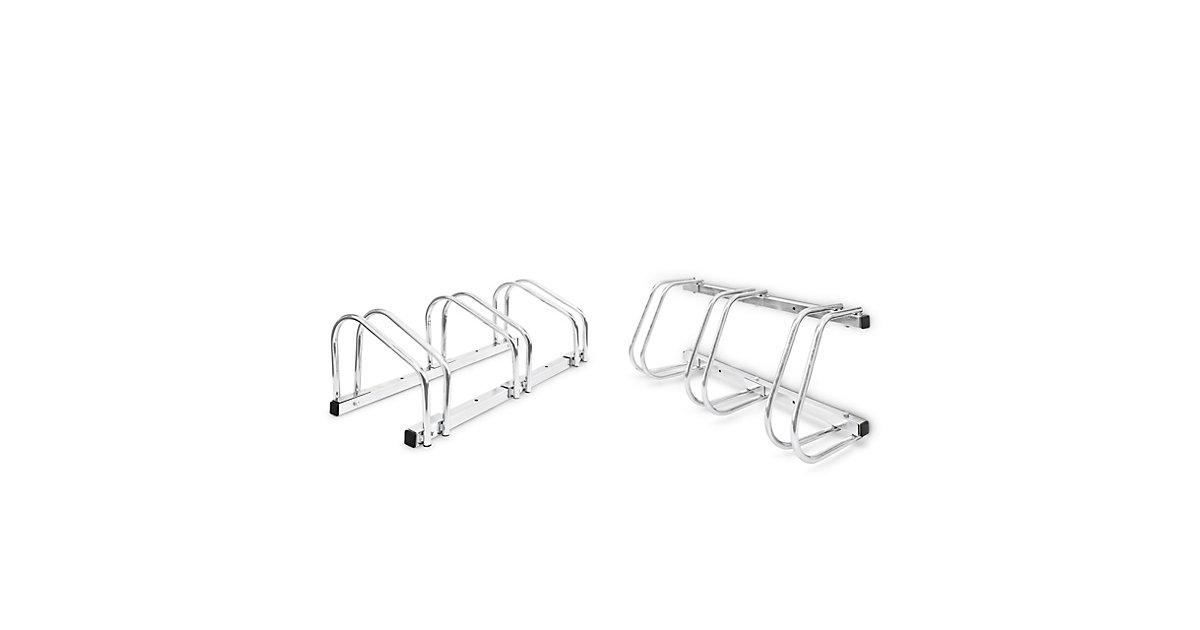 2er Set Fahrradständer Fahrradhalter 6 Fahrräder Mehrfachständer Boden Wand silber