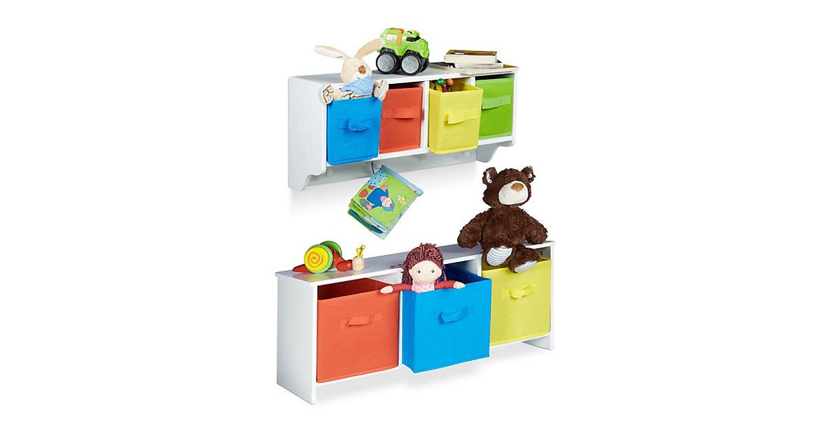 Image of 2er Kinderzimmer Aufbewahrungsset Kinder Wandregal Wandgarderobe Kindersitzbank weiß