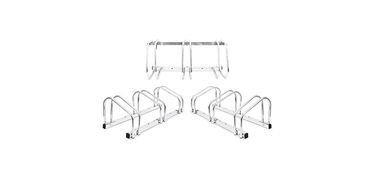 3er Set Fahrradständer je 3 Räder Bodenparker Fahrradhalter Mehrfachständer silber