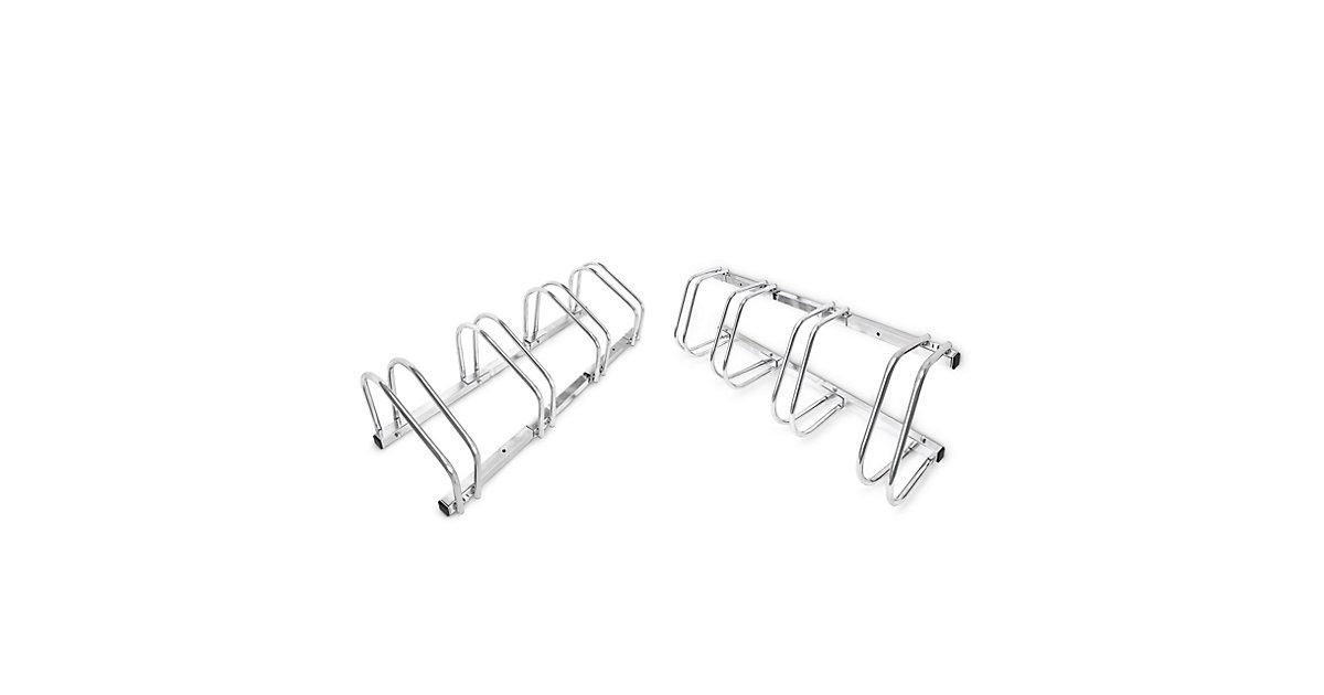 2er Set Fahrradständer je 4 Räder Bodenparker Mehrfachständer Wandparker Stahl silber