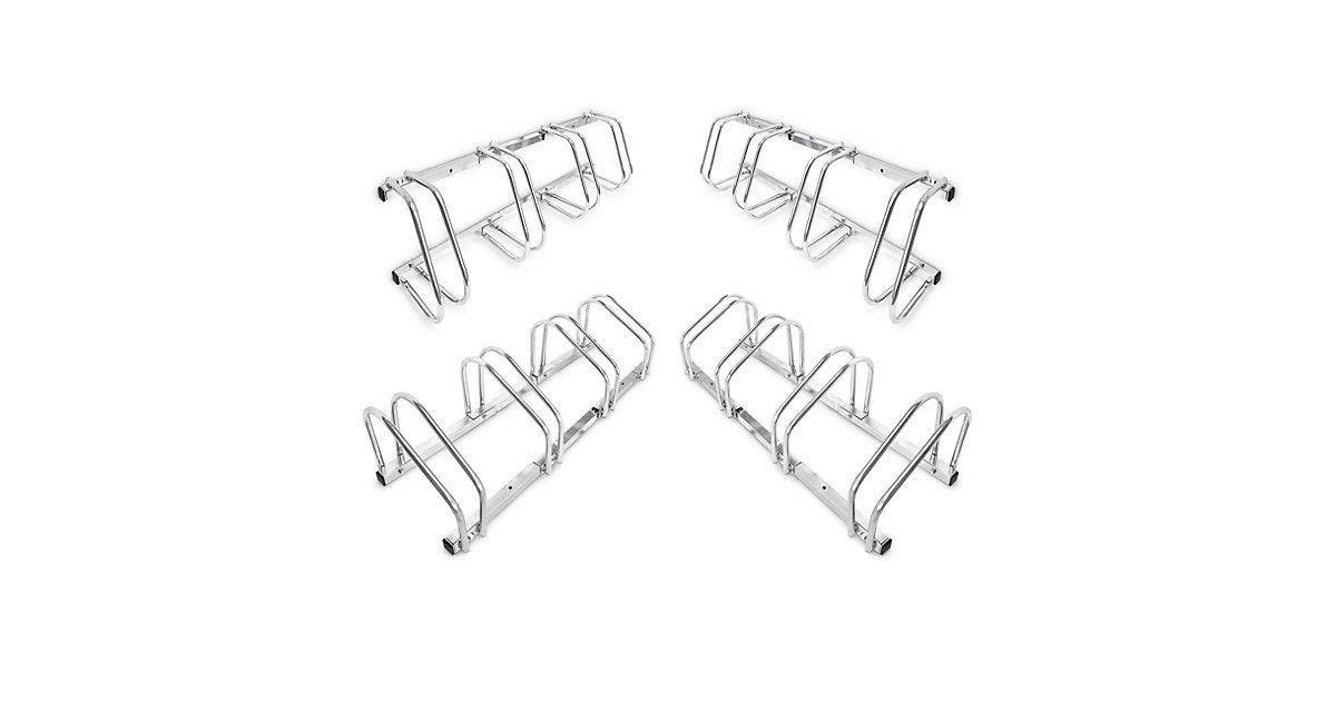 4er Set Fahrradständer Fahrradhalter Bodenparker Bügelparker Wandmontage Stahl silber