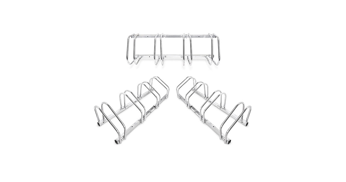 3er Set Fahrradständer Stahl Fahrradparker Outdoor Reihenparker Mehrfachständer silber