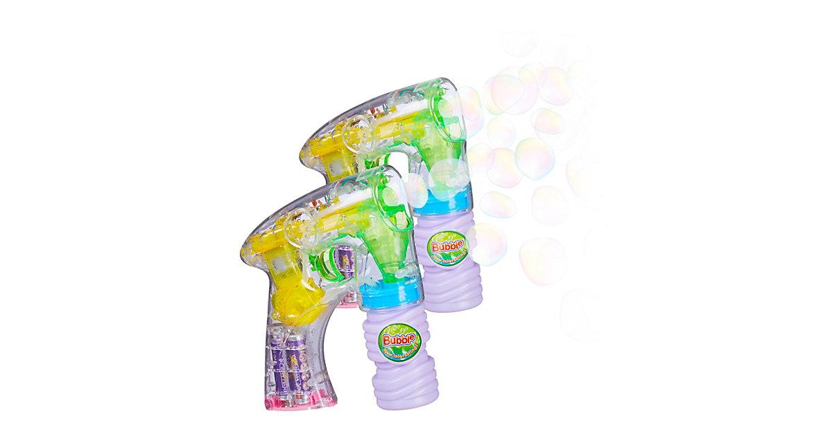 2 x Seifenblasenpistole mit LED, Seifenblasenkanone mit Effekt batteriebetrieben mehrfarbig