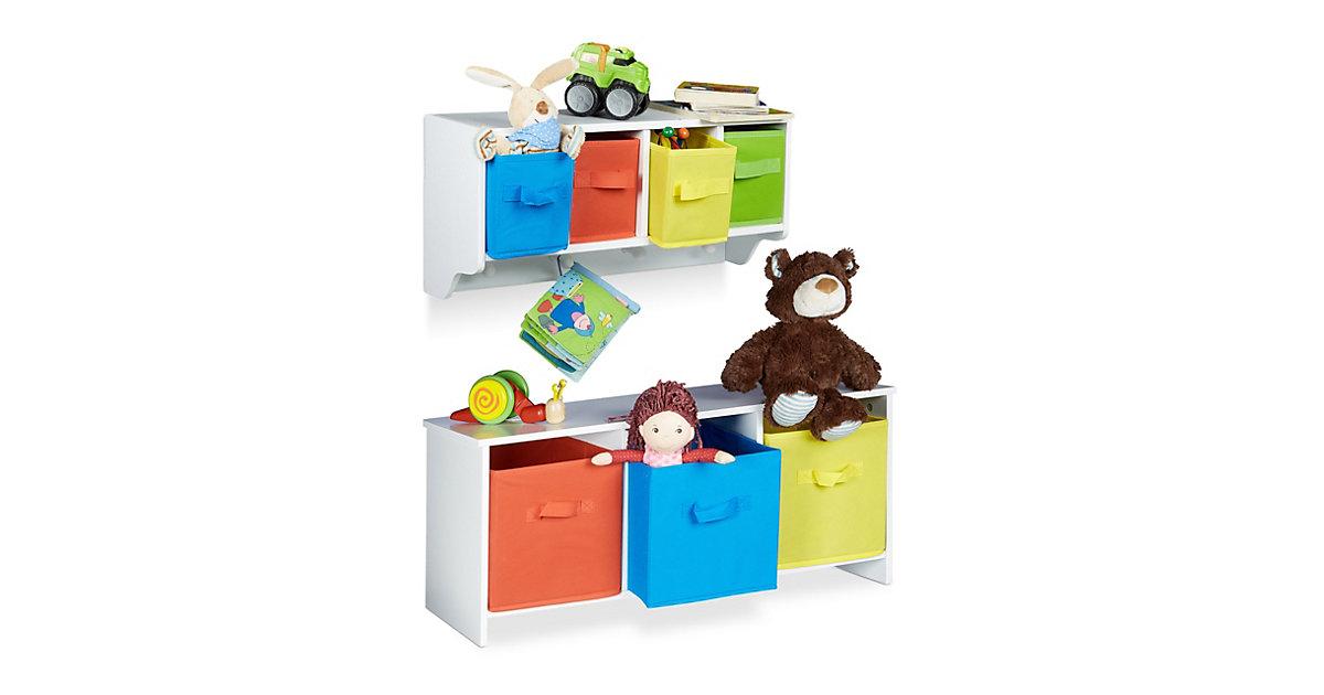 Image of 2tlg Kindermöbel Set ALBUS Kinderregal Kindersitzbank Kinderregal Spielzeugtruhe weiß
