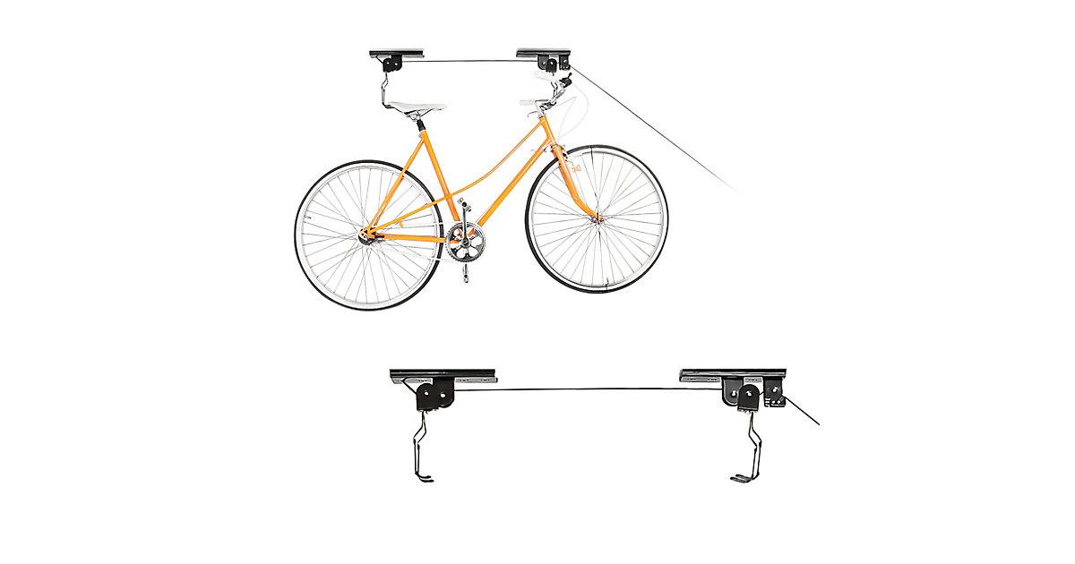 2er Set Fahrradlift Fahrradaufzug Fahrradaufbewahrung 2 Fahrräder Deckenmontage schwarz