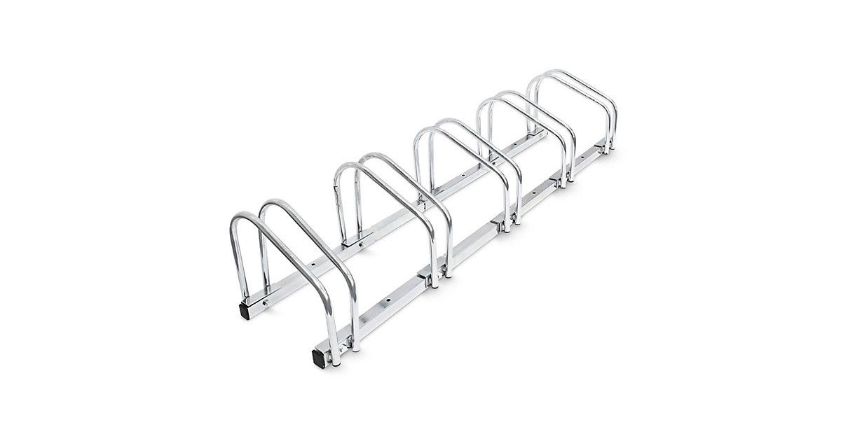 Fahrradständer 5 Fahrräder Stahl 130cm silber