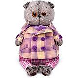 Мягкая игрушка Budi Basa Кот Басик в пиджаке в сиреневую клетку, 19 см
