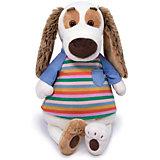 Мягкая игрушка Budi Basa Собачка Бартоломей в футболке в полоску, 33 см