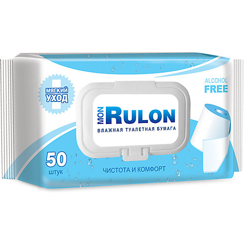 Влажная туалетная бумага Mon Rulon №50, с клапаном