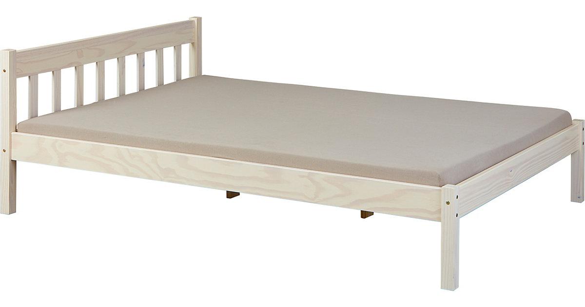 Bett Vilmar 140 x 200 cm, Milky lackiert weiß