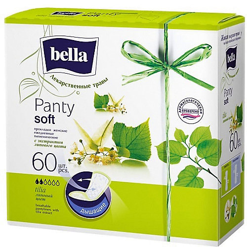 Ежедневные прокладки Bella Panty Herbs Tilia с экстрактом липового цвета, 60 шт