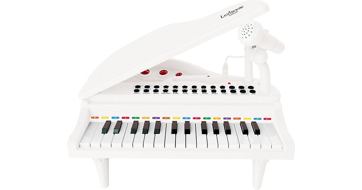 Elektronisches Mini-Flügel Piano mit Mikrofon und leuchtenden Tasten weiß