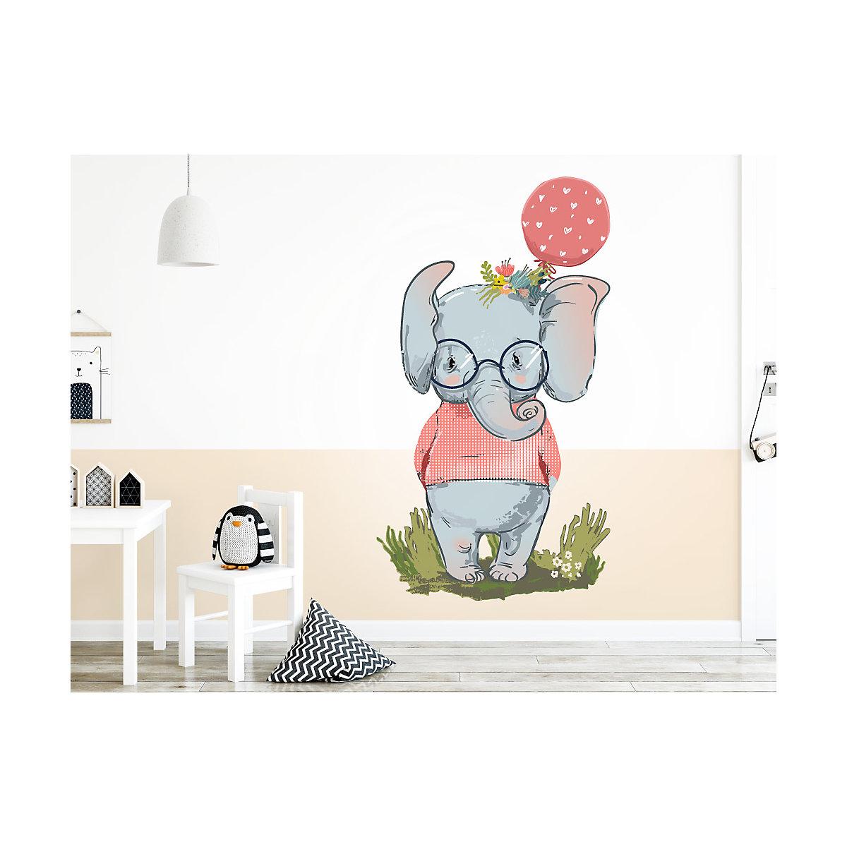 wandtattoo pastell elefant mit luftballon und pullover