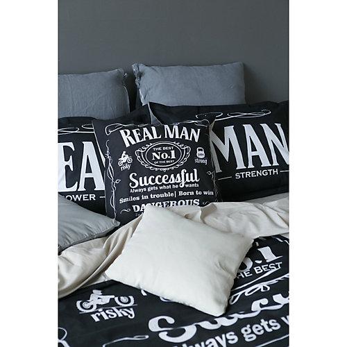 Комплект постельного белья Этель Real Man, евро - черный
