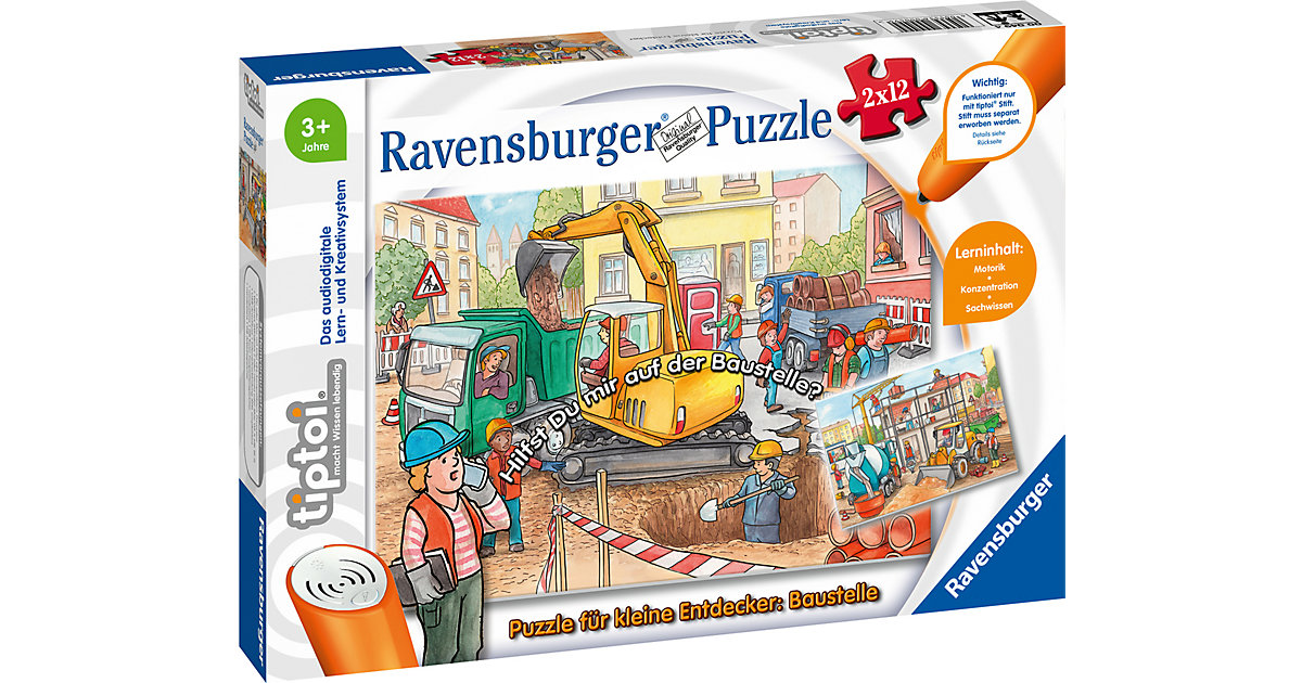 tiptoi® Puzzle kleine Entdecker: Baustelle (ohne Stift), 2 x 12 Teile  Kleinkinder