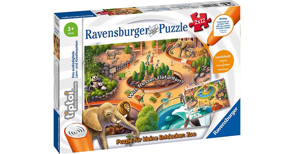 tiptoi® Puzzle kleine Entdecker: Zoo (ohne Stift), 2 x 12 Teile  Kleinkinder