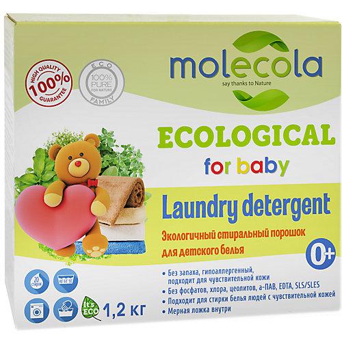 Molecola Экологичный стиральный порошок Molecola для белого и цветного детского белья, 1,2 кг