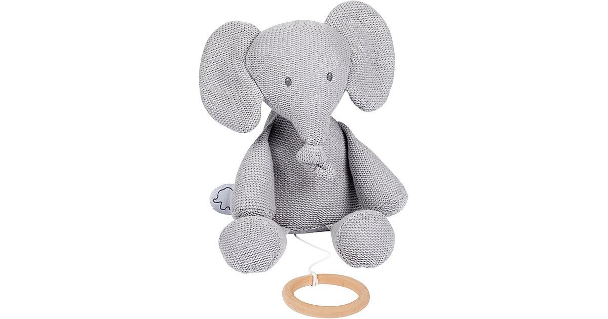 Spieluhr Strick - sitzender Elefant, grau