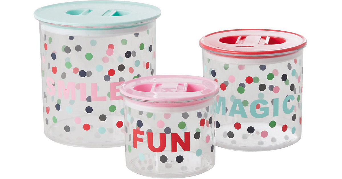 """Image of 3-tlg. Set Aufbewahrungsboxen """"Smile, Magig, Fun"""", rund, Ø 15cm mehrfarbig"""