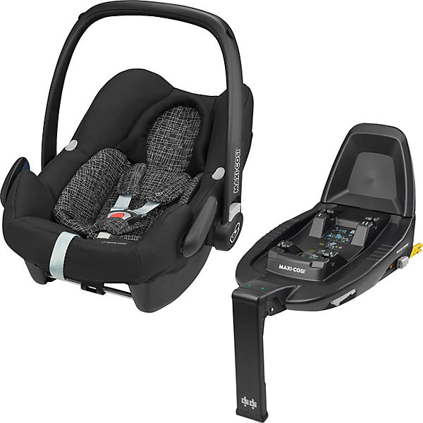 Babyschale Rock, Black Grid + ISOFIX-Basis FamilyFix2