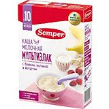 Сухая молочная каша Semper мультизлак с бананом, малиной и йогуртом, с 10 мес, 200 г