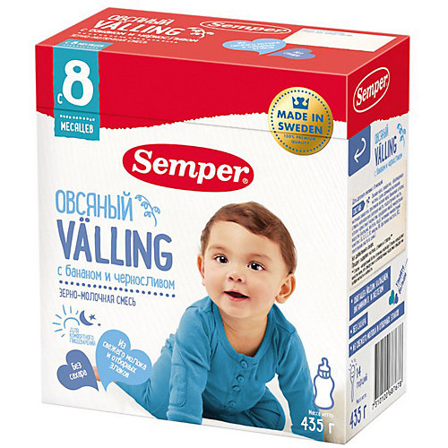 Cухая зерно-молочная смесь Semper Овсяный Valling с бананом и черносливом, с 8 мес, 435 г от Semper