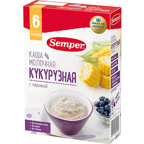 Сухая молочная каша Semper кукурузная с черникой, с 6 мес, 200 г от Semper