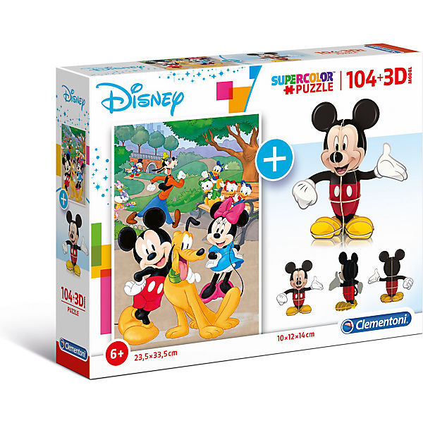 Puzzle 104 Teile + 3D Modell - Disney Mickey Mouse