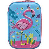 Пенал школьный 3D большой Фламинго голубой