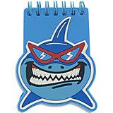 Мини блокнот на кольцах Акула синий