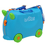 Голубой чемодан на колесиках
