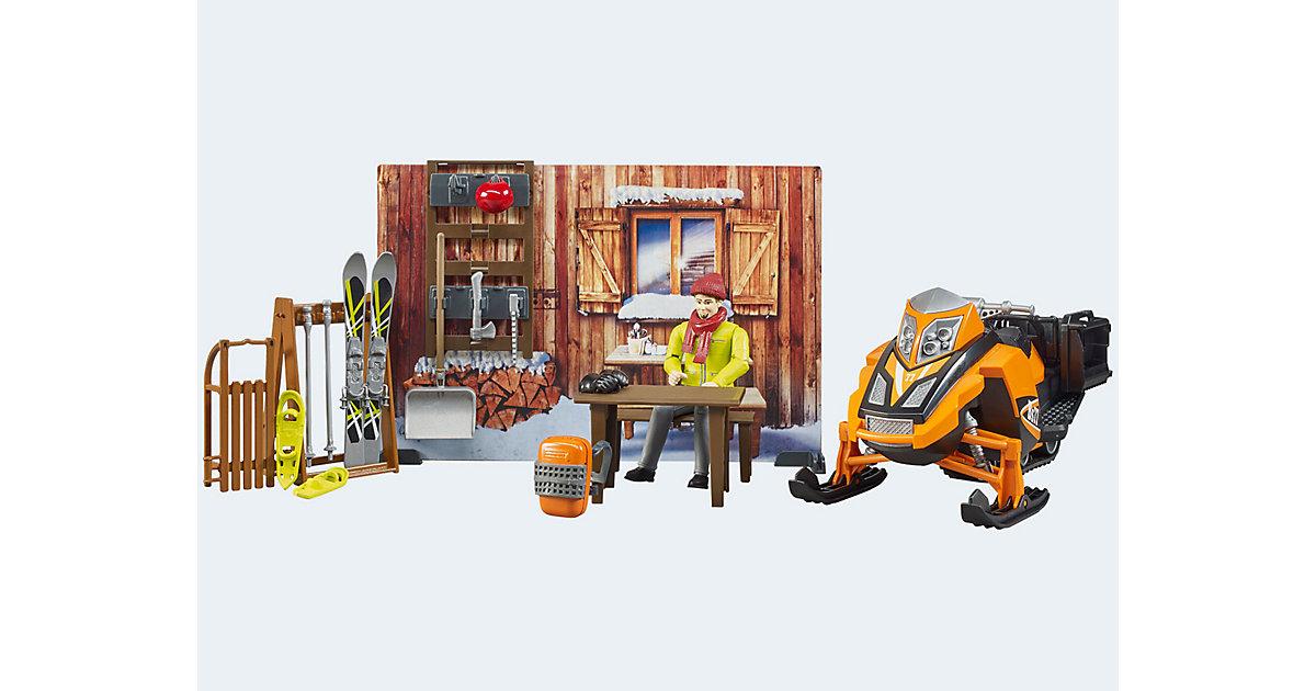 bworld Berghütte mit Snowmobil und Ausstattung
