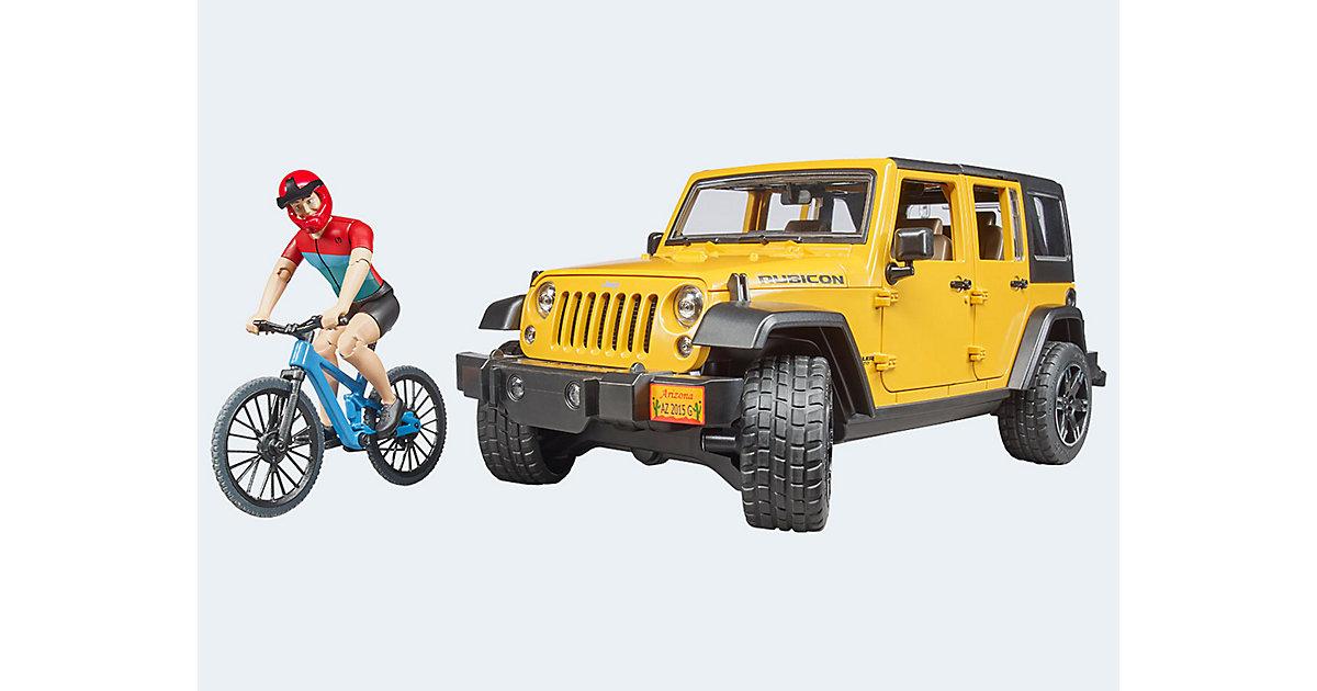 Jeep Wrangler Rubicon mit Mountainbike und Fahrer
