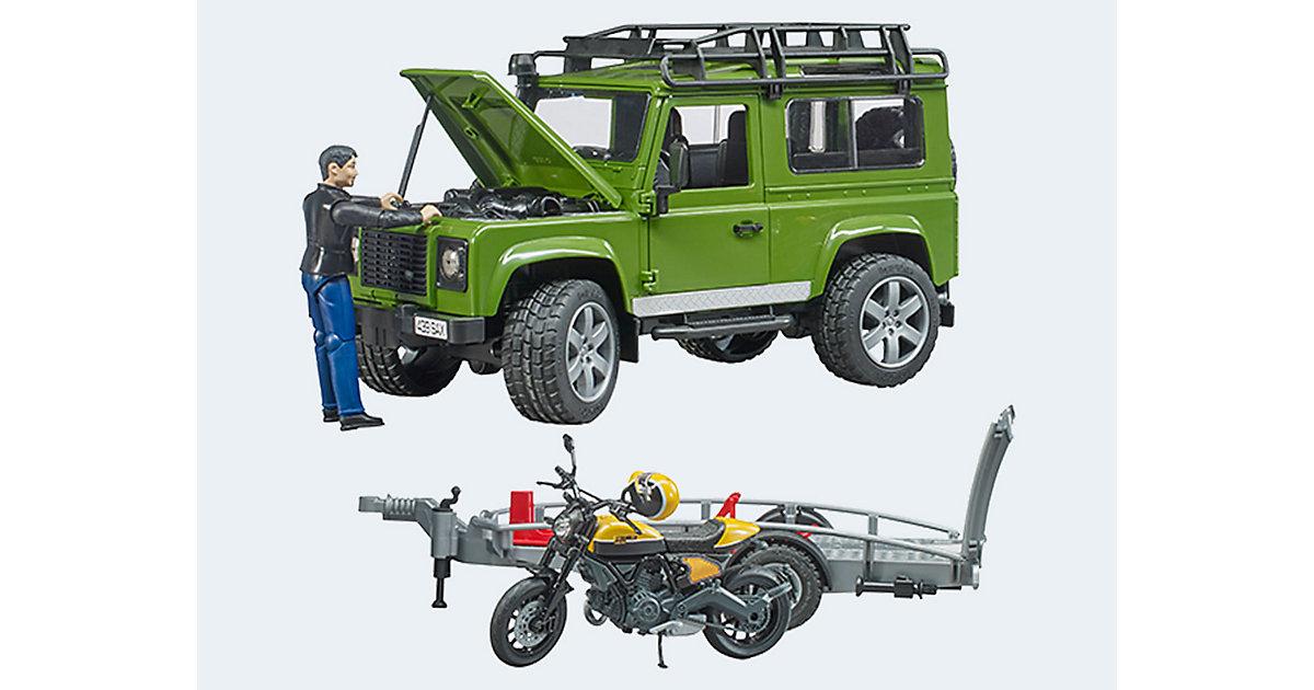 Land Rover Defender mit Anhänger Scrambler Ducati Full Trottle mit Fahrer