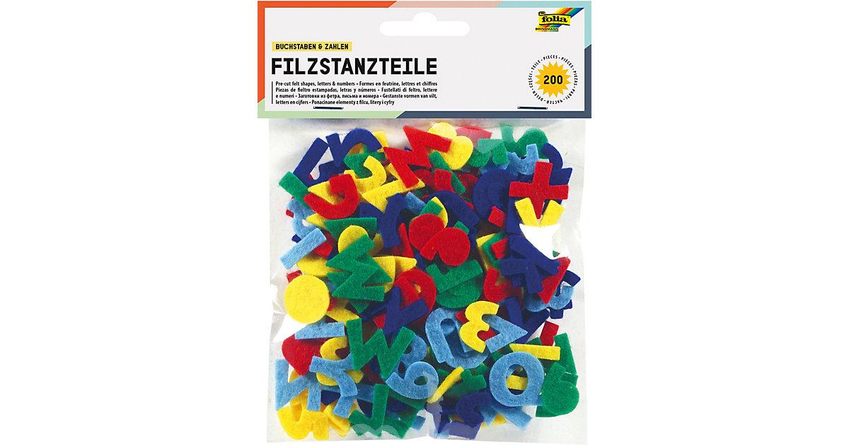 Filz Stanzteile Buchstaben & Zahlen, 200 Stück