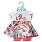 Платье Baby Born c шортиками для куклы 43 см, белое