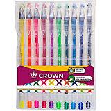 Набор гелевых ручек Crown Hi-jell color, 10 цветов