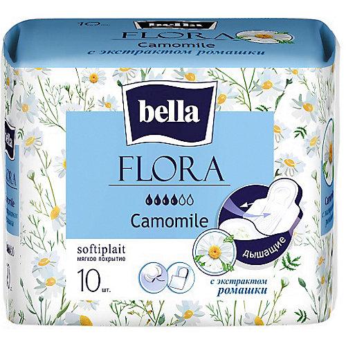 Прокладки Bella Flora Camomile с экстрактом ромашки,  4 капли, 10 шт