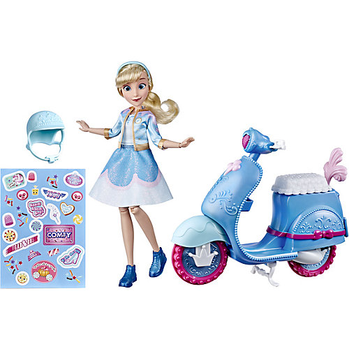 Игровой набор с куклой Disney Princess Comfy Squad Золушка на скутере от Hasbro