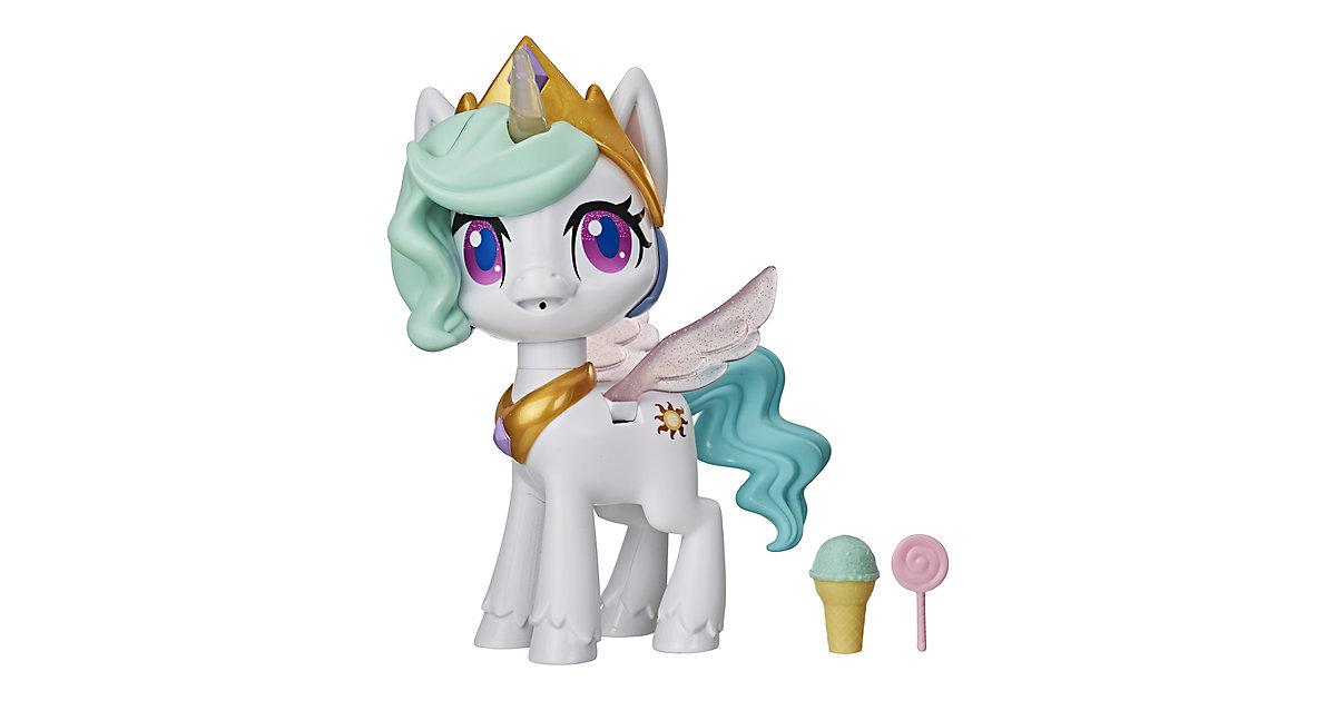 My Little Pony Küsschen Einhorn Prinzessin Celestia, Interaktive Einhornfigur mit 3 Überraschungen – Musikspielzeug mit Bewegung und Licht grün/weiß
