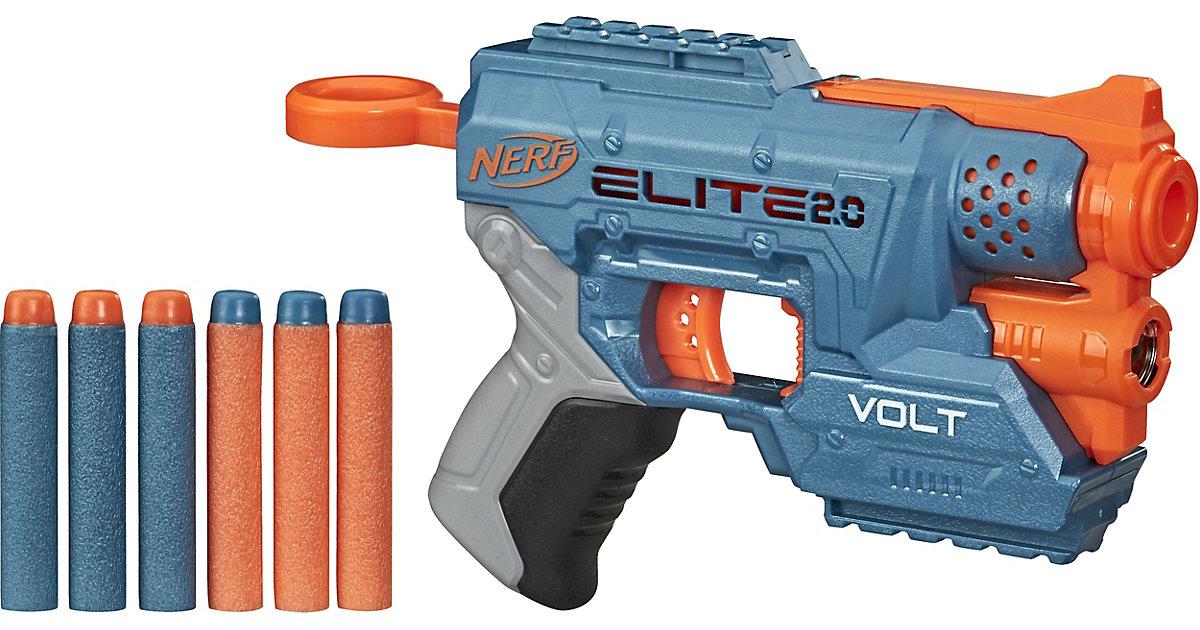 Nerf Elite 2.0 Volt SD-1 Blaster mit 6 Nerf Darts, Ziel-Lichtstrahl, 2-Dart Aufbewahrung, 2 Tactical Rail Steckschienen blau/orange