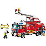 Конструктор Qman Пожарные службы: пожарная машина, 367 деталей