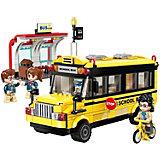 Конструктор Qman Город: школьный автобус, 440 деталей