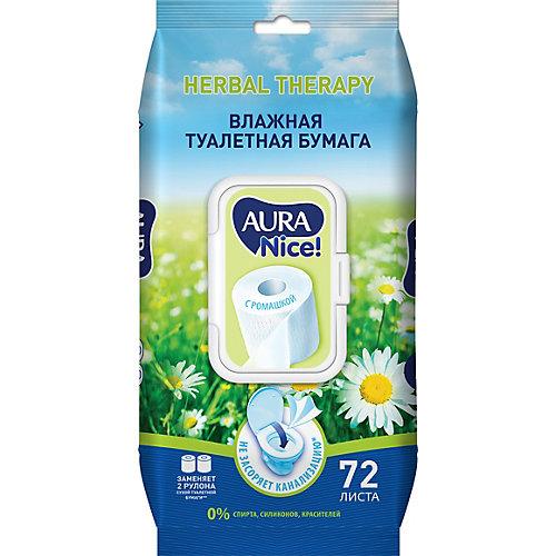 Влажная бумага туалетная AURA с ромашкой, 72 шт