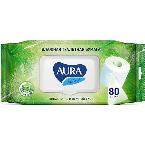 Влажная бумага туалетная AURA Ultra Comfort с алоэ, 80 шт