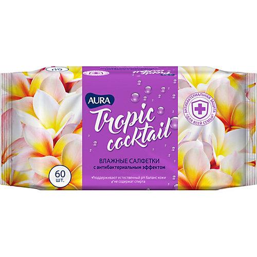 Влажные салфетки AURA Tropic Cocktail антибактериальные, 60 шт